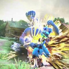 Machamp golpeando y bloqueando a Lucario con sus 4 puños a la vez.