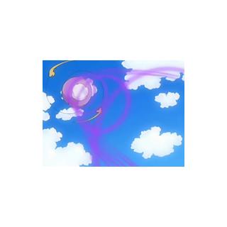 ...expulsando poderosas ráfagas de viento de color violeta...