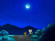 EP522 Chimchar hablando con Meowth bajo la luz de la Luna