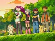 EP523 Jessie, Meowth, Maya, Ash y Brock contemplando a James