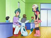 EP561 Maya hablando con un chica del centro Pokémon