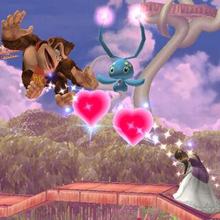 Manaphy usando cambia almas con Zelda y Donkey Kong en Brawl.