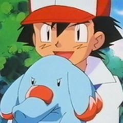 Phanpy junto a Ash.