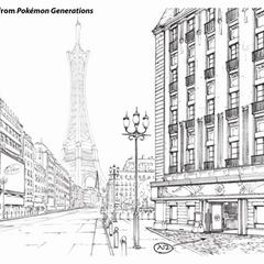 Concept Art de Pokémon Generaciones de ciudad Luminalia.