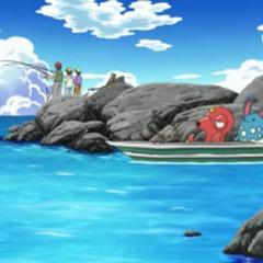 Pescadores en una pequeña bahía.