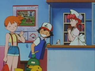 EP036 Ash, Misty, Joy y Pikachu Cartel