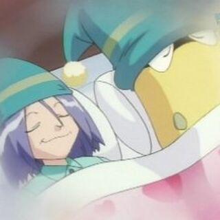 James durmiendo junto a su Victreebel.