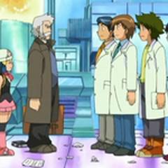 Yuzo y los otros ayudantes explicando lo ocurrido al <a href=