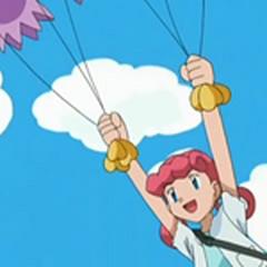Marnie volando con Drifloon.