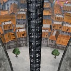 Escalera exterior de las torres que lleva a la sala de música.