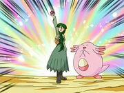 EP499 Cheryl capturando un Pokémon