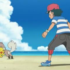 Rockruff jugando con Pikachu.