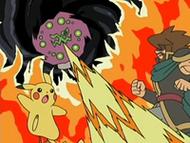 EP525 El guardián y su Pikachu enfrentándose a Spiritomb en la leyenda