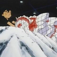 Ash salvando a los Goldeen.