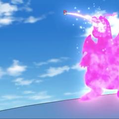 Ash atrapa a Dragonite estando encima de Wailord.