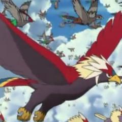 Braviary volando junto a otros Pokémon.