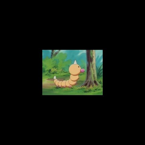 Un Weedle frente a un árbol posiblemente buscando hojas para comer.