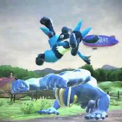 Lucario saltando y realizando un golpe con sus piernas.