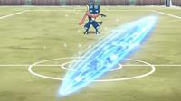 EP922 Greninja usando shuriken de agua