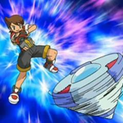 Kellyn/Primo usando su capturador para utilizar un Pokémon.