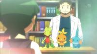 EP879 Profesor Abedul ofreciendo Pokémon inicial a Scottie