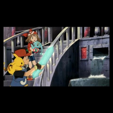 ...y después de que Ash recoge el cristal la pulsera reaparece.