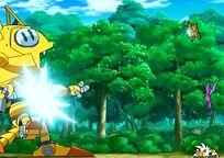 Crobat de Brock, Staryu de Misty y Lycanroc de Ash enfrentandose al robot Meowth del Equipo Rocket