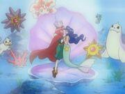 EH16 Violet y Lily actuando junto con los Pokémon del gimnasio