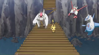 GEN01 Vigoroth y Pikachu huyendo