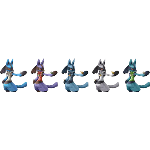Paleta de colores de Lucario en Super Smash Bros. Brawl.