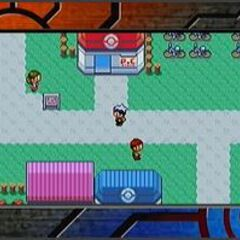 Jugando a Pokémon Rubí y Pokémon Zafiro en la televisión
