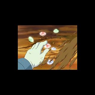 Gemas rojas, azules y verdes en el anime.
