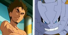 Brock y Mega Steelix