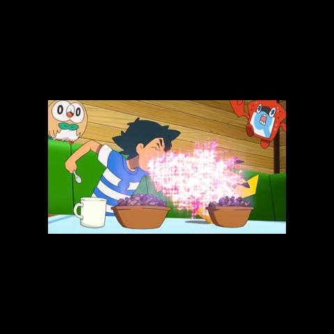 Ash vomitando sobre Pikachu