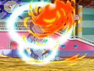 Steelix de Brock usando Giro Bola para defenderse del Lanzallamas de Turtonator