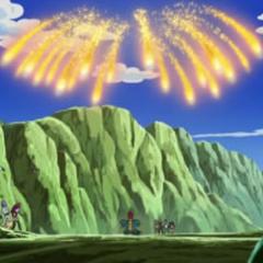 ...que finalmente dispara al cielo, donde se divide en varios cometas.