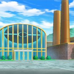 Exterior de la Fábrica de Poké Balls en el anime.