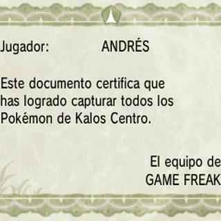 Diploma de Pokédex de Kalos centro en <a href=
