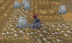 Pokémon XY Demo Kalm montado en un Rhyhorn