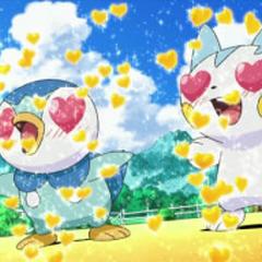 Piplup y Pachirisu enamorados.