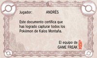 Certificado Pokédex Kalos Montaña XY