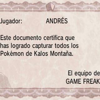 Diploma de Pokédex de Kalos montaña en Pokémon X y Pokémon Y.