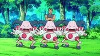 EP628 Mr Mime usando doble equipo