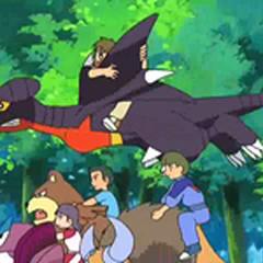 Niños montados en los Pokémon durante la primera fase.