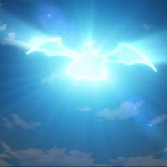 Dragonair de Ash evolucionando a Dragonite.