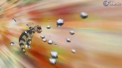 EP754 Krokorok de Ash lanzando Roca afilada