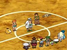 Geodude y Brock en la explicación de batallas de gimnasios.