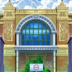 Gimnasio Pokémon de Ciudad Esmalte junto a un museo de la región de <a href=