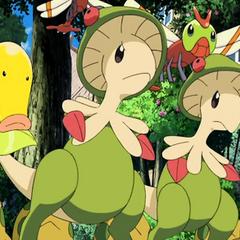Breloom y los Pokémon a los que les daba comida (antes de ser atrapado).
