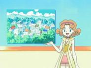 EP524 Marian anunciando el concurso Pokémon de pueblo Sosiego